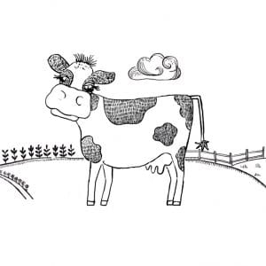Drawing of Rora the Cow