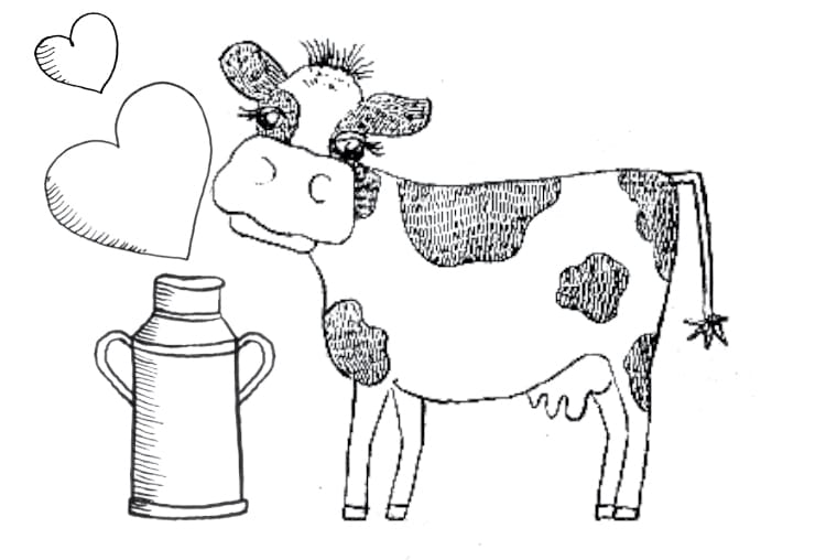 Yogurt Line Drawing : Drawing of a cow with hearts rora dairy