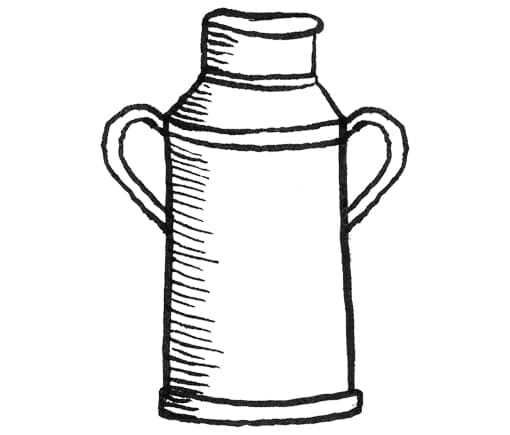 Drawing of a milk churn.