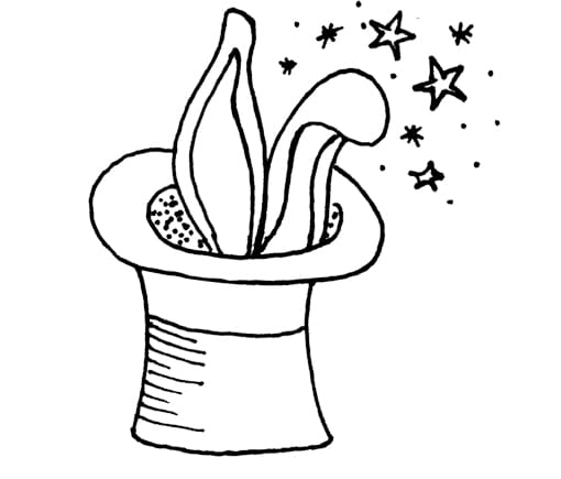 Drawing of a magic hat with rabbit ears poking out.