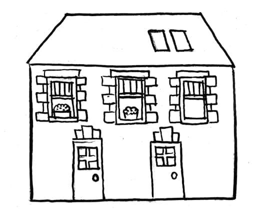 Farm house drawing.
