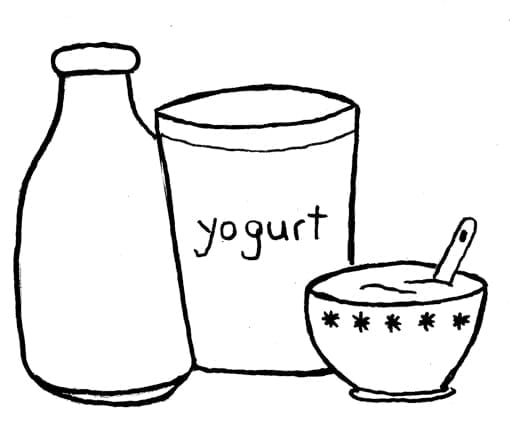 Drawing of yoghurt, bowl and milk.